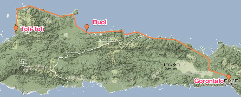 Route from Toli-Toli to Gorontalo